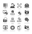 Network And Internet Black Icons vector image