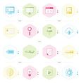 office icon set blue green pink yellow color style vector image vector image