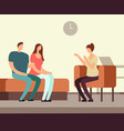 patient on couch counseling with psychologist vector image vector image