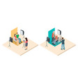 photo shoot isometric young and elderly couples vector image vector image