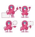 pink breast cancer ribbon cartoon characters vector image