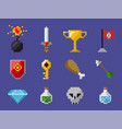 pixel game icons bomb diamond trophy flag skull vector image