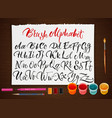 poster with paper sheet with alphabet vector image vector image