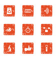 research paper icons set grunge style vector image