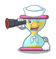 sailor with binocular modern hourglass on the vector image vector image