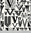 seamless vintage pattern letter V vector image vector image