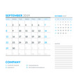 september 2019 week starts on sunday calendar vector image vector image