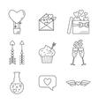 Set of line valentine day icon Flat design vector image vector image