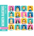 Set of Women Avatars Icons Colorful Female Faces vector image vector image