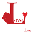 sign of love on red vector image vector image