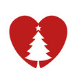 silhouette of a christmas tree in the heart vector image vector image