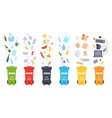 trash containers organic e-waste plastic paper vector image