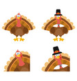 turkey bird character set collection vector image vector image
