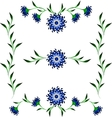 Vignettes of blue cornflower and green leaves vector image