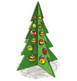 wooden christmas tree with baubles vector image