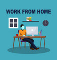 work from home - blue vector image vector image