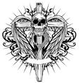 skull cross wings vector image