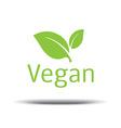 Vegan Logo fresh green leaf on a white background vector image
