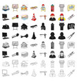 architect set icons in cartoon style big vector image vector image
