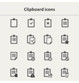 black Clipboard icons set vector image vector image
