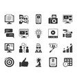 blogging online black silhouette icons set vector image