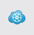 Blue cloud video film icon vector image