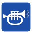 blue white sign - trumpet and two vibration waves vector image vector image