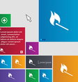 burning match icon sign buttons Modern interface vector image