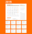 calendar planner stationery design template 2019 vector image vector image