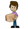 Cartoon man with the box vector image