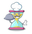 chef with food modern hourglass on the table vector image vector image