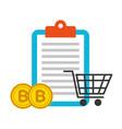 clipboard online shopping bitcoins fintech vector image vector image