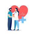 doctor visit with patient for medicine concept vector image