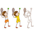 doodle character for tennis player vector image vector image