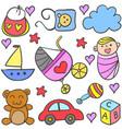 doodle of baby set design style vector image vector image