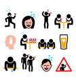 drunk man and woman people drinking alcohol icons vector image