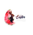 easter bunny in flowers festival background design vector image vector image