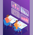 employees analyze statistical indicators business vector image