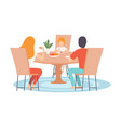 family sitting at kitchen table and eating dinner vector image vector image