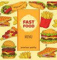 fast food menu with premium quality colorful card vector image
