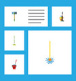 flat icon cleaner set of bucket equipment mop vector image