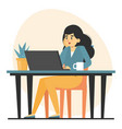 freelancer at desk working remote from home vector image vector image