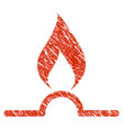 gas flame icon grunge watermark vector image