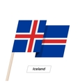 Iceland Ribbon Waving Flag Isolated on White vector image vector image