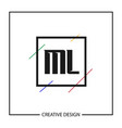 initial letter ml logo template design vector image
