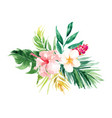 isolated yellow pink flower and leaf wedding vector image vector image