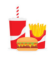 lunch with cola hamburger and french fries vector image