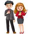 Male and female reporters vector image vector image