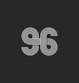 Number logo 96 creative offset thin line monogram vector image vector image