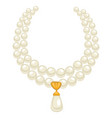 pearl necklace in 1950s style isolated jewelry vector image vector image